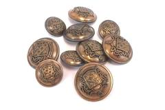 Lot of 10 Vintage Sewing Button ~COAT OF ARMS~ Matching  2 Sizes