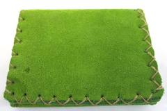 Hand Made Dyed Green Leather Wallet w/ Sinew Laced Trim Snap Close Tri Fold