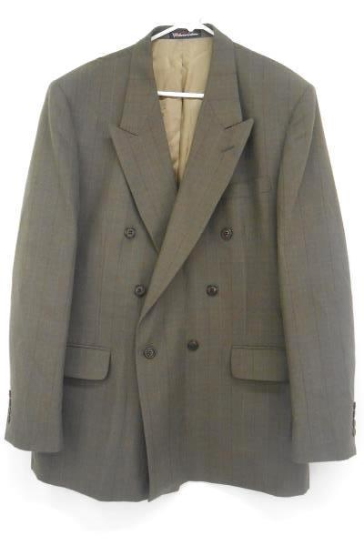 Stafford Men's Brown Plaid One Button Wool Blend Blazer Sport Suit Jacket 44L