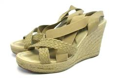 Skechers Wedge Heel Sandals Elastic Beige Natural Women's Sz US 9 EUR 39