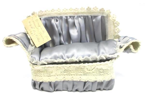Vintage Tillie 1981 Dollhouse Miniature Town Couch and Chair Set Blue Satin Lace