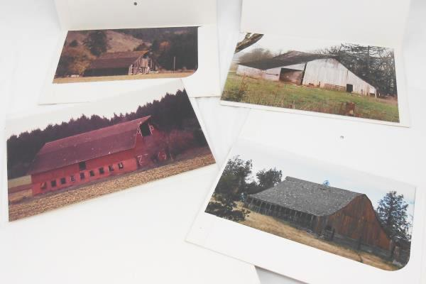 """Color Photo Enlargements Lot Of 4 Scenic Vintage 8""""x 12"""" Rustic Barn"""