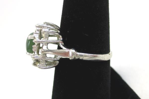 Vintage Uncas Jade Cabochon Cubic Zirconia Cluster Cocktail Ring Silver 6.5