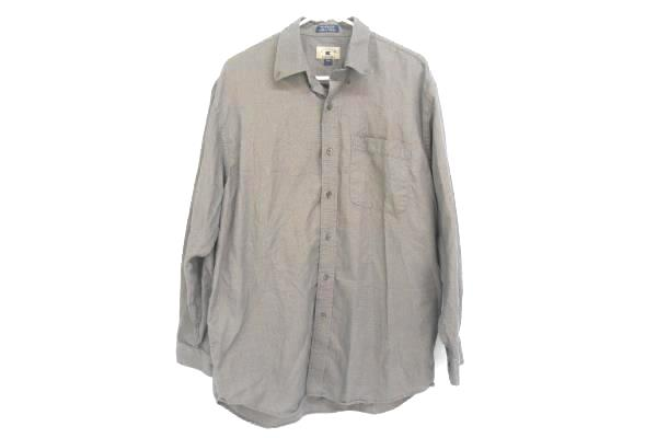 Cutter & Buck Men's Blue Woven Dress Shirt Button Up Embroidered Cotton Size L