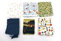 Lot of 6 Quilt Squares Remnant Fabric Children Nursery Animal Quilters Bundle