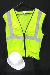Construction Worker Costume Halloweens Hard Hat XL Neon Safety Vest