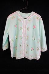 Vtg Caro Honolulu Floral Embroidered Asian Inspired Tunic Top Blouse Womens 18