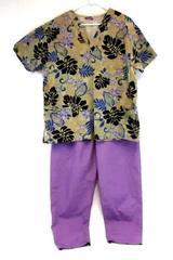 Women's 2 Piece Purple Scrub Med Pull On Pants Jasco Uniform Hawaiian Top 22/24