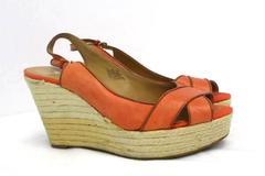 "Nine West ""Clambake"" Leather Open Toe Espadrille Wedge Sandal Heels Coral 9M"