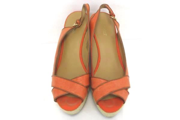 "Nine West ""Clambake"" Leather Open Toe Espadrille Wedge Sandal Heels Coral 9M"