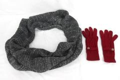 Glove Infinity Scarf Accessory Lot H&M Divided Black Gray Red Gloves