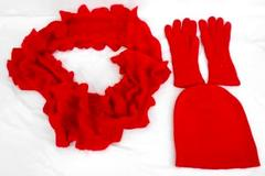 Bright Red Cable Knit Ruffle Scarf & Knit Beanie Cap Hat with Gloves