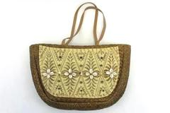 "Cappelli Strawworld Inc. Seashell Shoulder Bag Brown Tan 17"" x 10"""