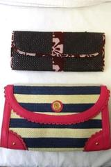 Lot Of Two Clutch Purses, One by Mudpie w/ Pockets Multicolor and Button Closure