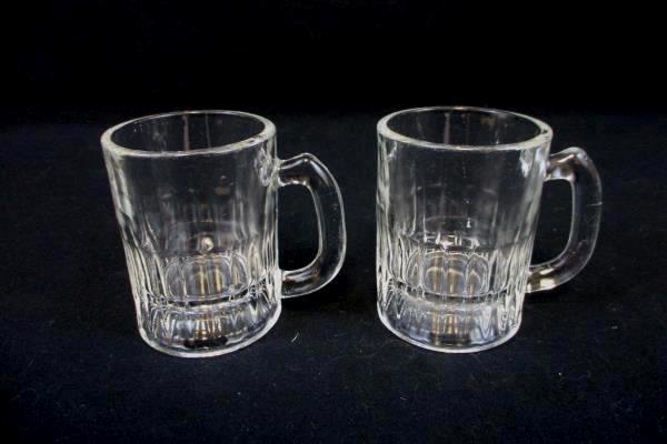 "Set of 2 Vintage Mini Beer Stein Mug Shot Glasses Clear 3.25"" Tall"