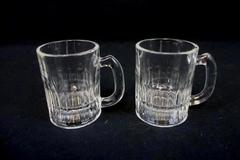 "Set of 2 Vintage Mini Beer Stein Mug Shot Glasses Clear 3.25"" Tall"