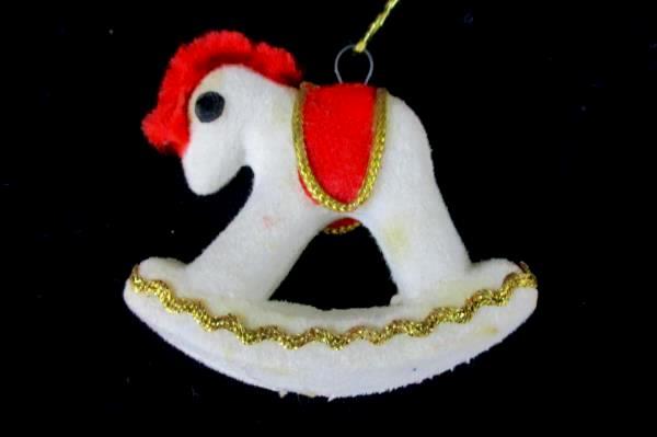 Set of 2 Matching Vintage Felt Rocking Horse Hanging Ornaments