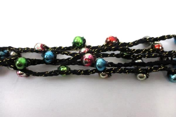 Crochet Christmas Necklace with Vintage Mini Colorful Ornaments