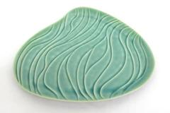 Partylite Ceramic Candle Holder Plate Teal Abstract Lilly Pad Shaped