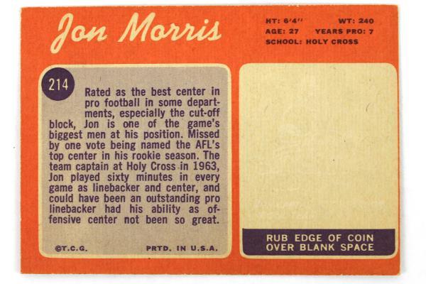 Lot of 3-1970 Topps Jon Morris Center New England Patriots #214 Football Card