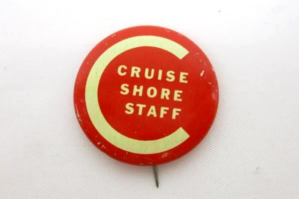 """Vintage 1"""" Red Yellow C Cruise Shore Staff Crew Pin"""