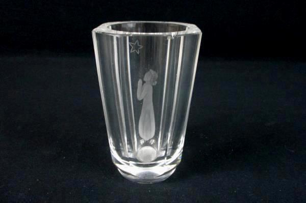 Vintage Skruf Vase Mid Century Glass Crystal Women Praying Star Etched Signed