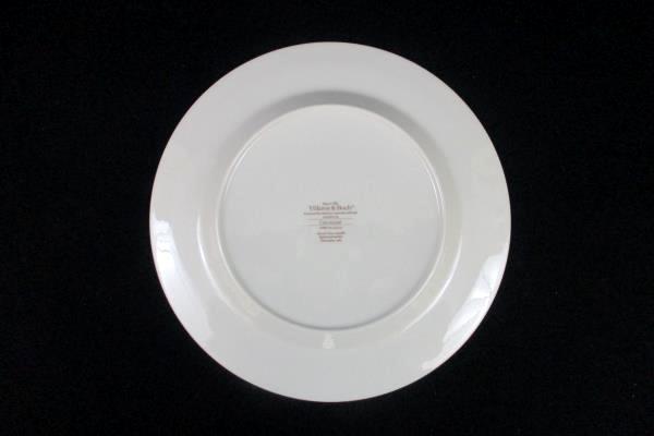 "Set of 3 Villeroy & Boch Carrousel Dinner Plates Gray Maroon Bands 10.5"""