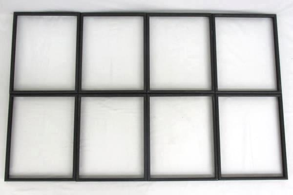 "Lot Of 8 Metal Frames Black 10"" x 8"" Empty No Glass"