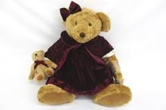 "Vintage Edition Russ Bear 19"" Lady Victoria W/ Velvet Dress & Child Plush Animal"