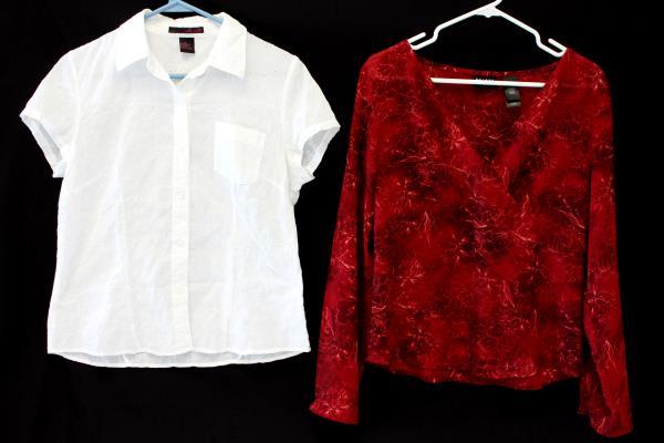 2: Women's Blouse Tops Axcess Liz Claiborne Red Tunic Willi Smith White Shirt 10