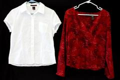 2: Women's Blouse Tops Axcess Liz Claiborne Red Tunic Willi Smith White Shirt 10