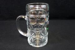 "Vintage Beer Mug Frankenthaler Leit 1889 Clear Glass 8"" Tall Large Austria"