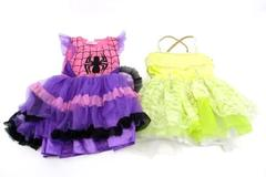 2 Girl's Tutu Dance Costumes 1-Piece Spider-Women & Yellow Sequins Sz CS & CM