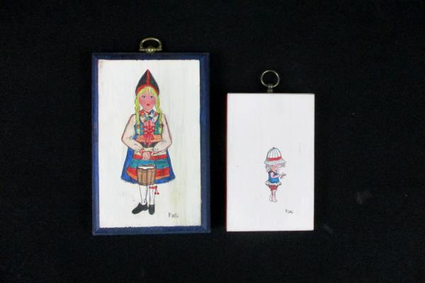 Lot of 2 Swedish Girl Hand Painted Wood Wall Hanging Wooden Colorful Signed