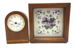 Lot of 2 Handcrafted Vintage Table Clocks Wooden Battery Operated Crochet Pansy