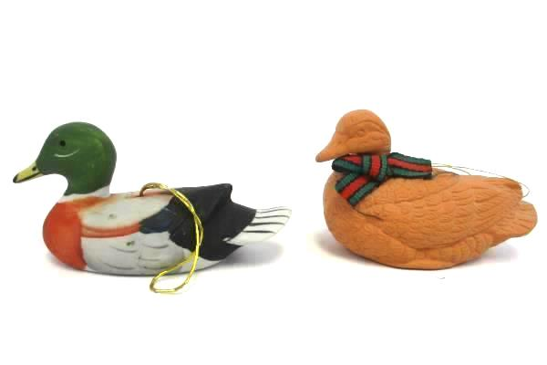 Lot of 2 Vintage Colorful Ceramic & Terracotta Duck Ornaments