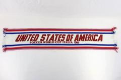 Vintage United States of America Soccer World Cup Italia 90 Knit Scarf Fringe