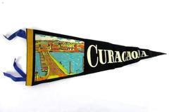 """Vintage 1950s Curacao, NA Felt Pennant Tassels 17"""" Long"""