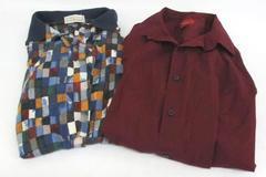 Lot of 2 Men's Career Casual Shirts Polo Multicolor Block Alfani Slim Fit Mens M