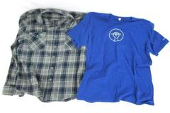 Lot of 2 Blue Tee Power to the Pencil Education Support Plaid Over Shirt Mens XL