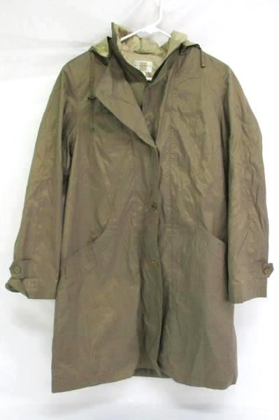 Vintage Gallery Taupe Trench Coat Lined Detachable Hood Snap Button Women's Sz S
