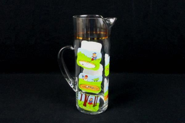 ASHBY GOLF COMICS VINTAGE 1970's Gold Trimmed Heavy Glass Pitcher Fun Rare