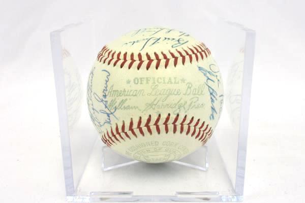 1957 Kansas City Athletics Team Autographed 27 Signatures Signed Baseball No COA