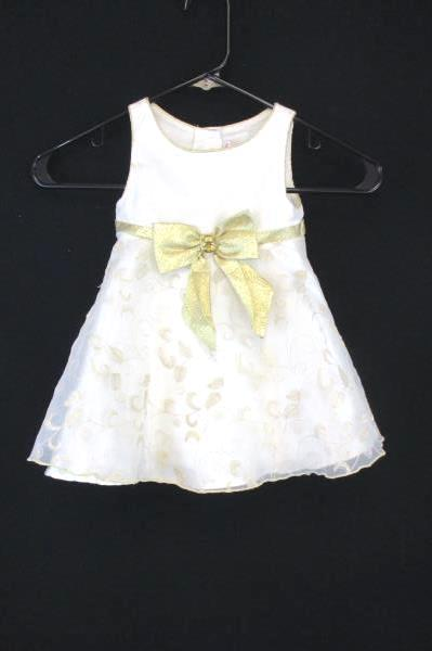 Youngland Special Occasion Cream Gold Embroidered Overlay Bow Dress Toddler 24M