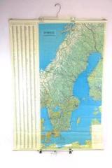 Vintage 1967 Sverige Sweden Map Poster Stockholm Lartforlaget GLA
