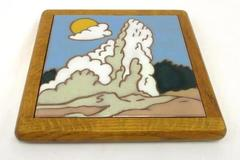 Vintage Tile Trivet Made In Italy Wood Ceramic Wooden Square Hot Plate