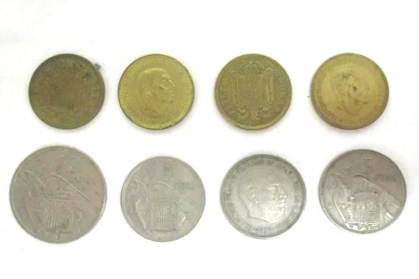 Coins From Spain Una Peseta 5 Ptas 25 Ptas Spanish Currency 8 Coins