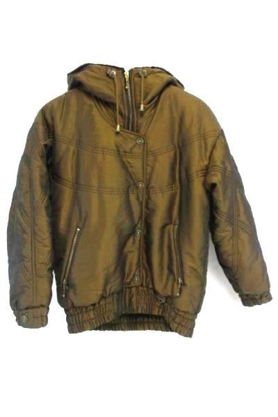 Women's Fera Skiwear Insulated Ski Jacket Bronze Black Faux Fur Size 6 Vintage