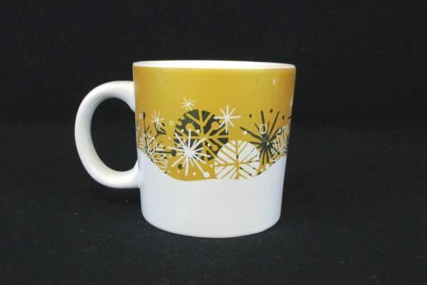 Peet's Coffee White and Gold Snowflake Mug 12 oz.