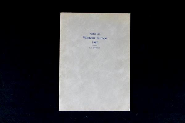 """Vintage """"Notes on Western Europe 1947"""" by E.C. Johnson Printed in the USA"""